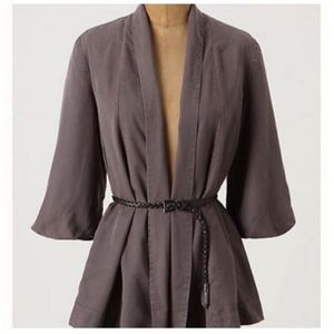 Anthropologie Coquille Draped Tencel Belted Blazer